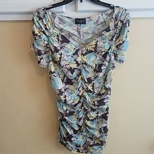 St John Couture Floral Ruched Short Sleeve Blouse